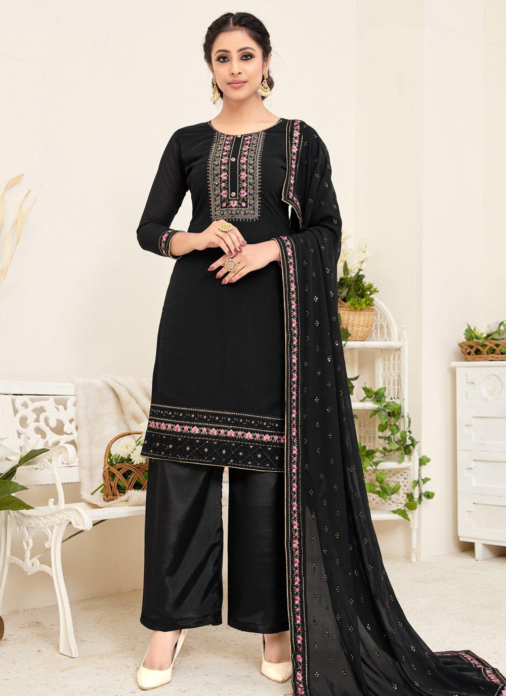 Georgette Black Embroidered Trendy Straight Salwar Suit