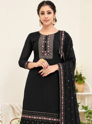 Georgette Black Embroidered Trendy Straight Salwar Suit