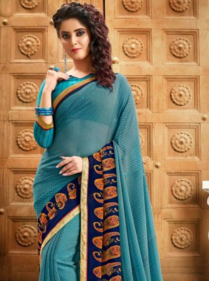 Georgette Blue Border Designer Saree