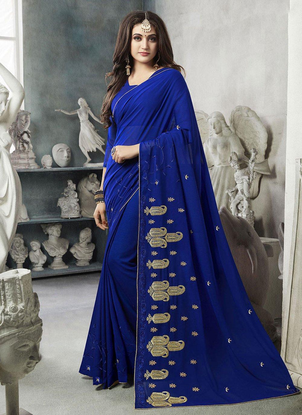 Georgette Blue Classic Designer Saree