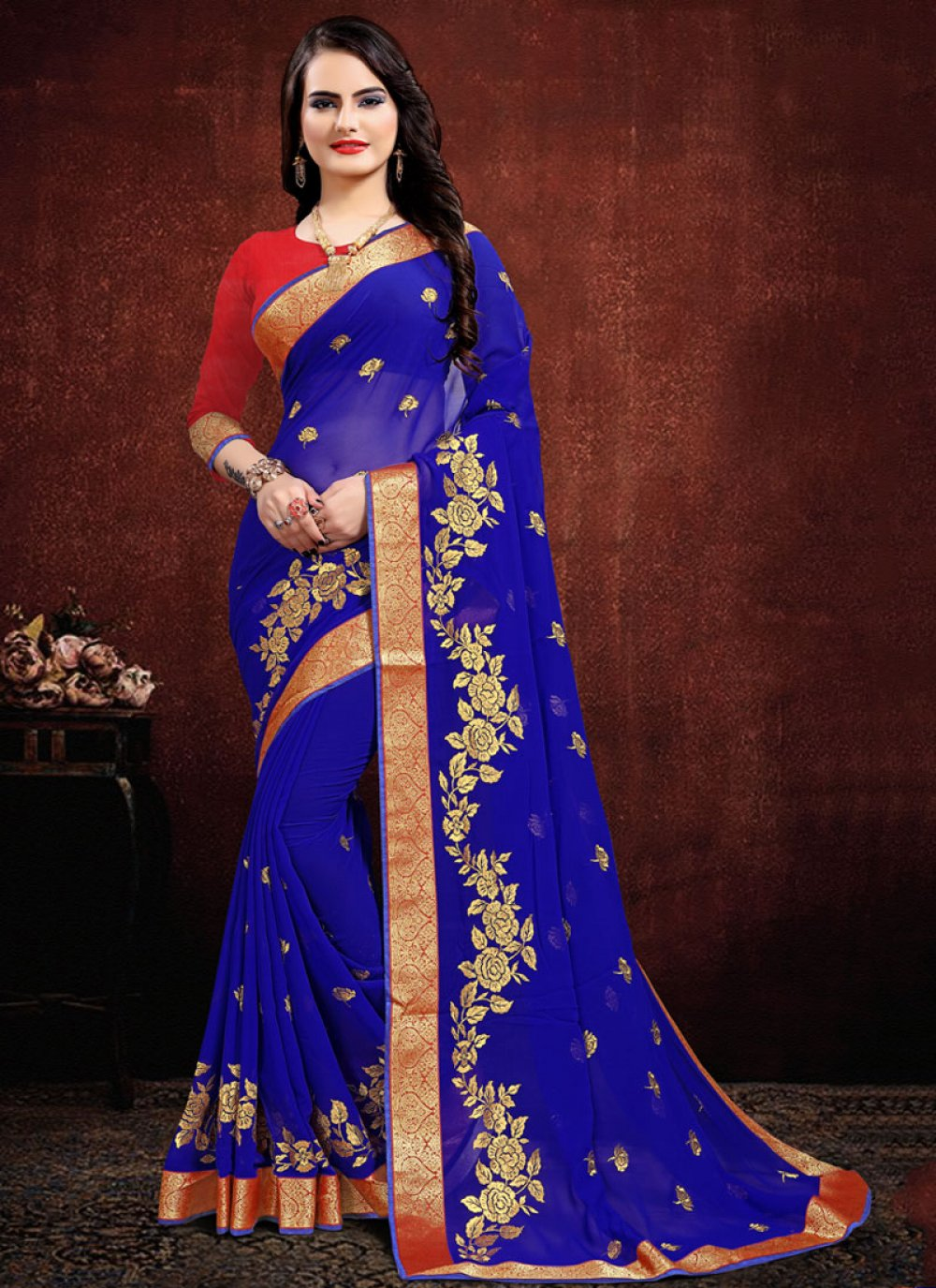 Georgette Blue Embroidered Classic Saree