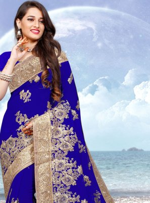 Georgette Blue Embroidered Contemporary Saree