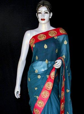 Georgette Blue Embroidered Designer Saree