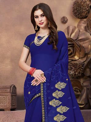 Georgette Blue Embroidered Designer Saree