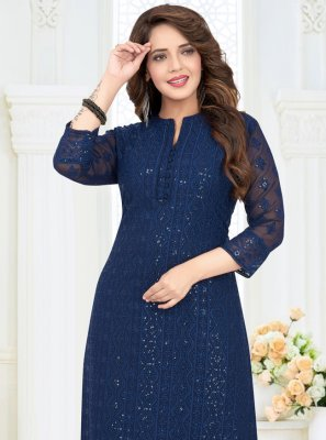 Georgette Blue Embroidered Pakistani Salwar Kameez