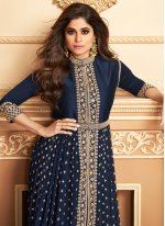 Georgette Blue Embroidered Trendy Salwar Suit