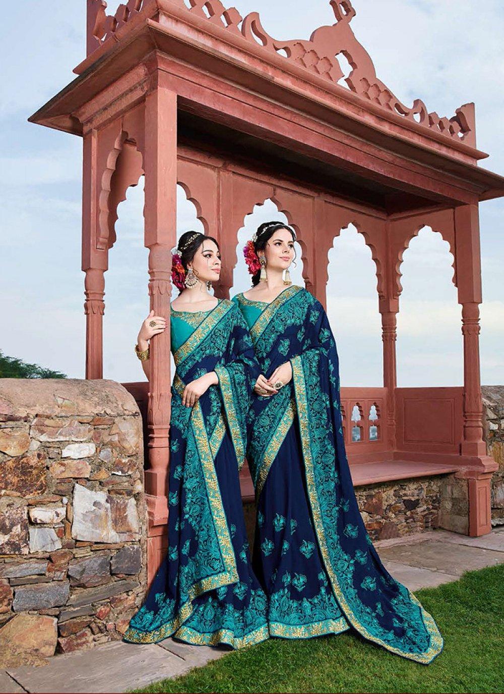 Georgette Blue Resham Designer Saree