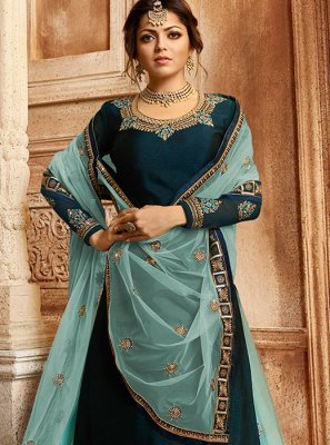 Georgette Blue Trendy Lehenga Choli