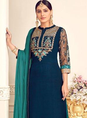 Georgette Blue Trendy Salwar Kameez