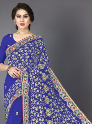 Georgette Blue Trendy Saree
