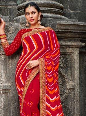 Georgette Border Bollywood Saree in Multi Colour