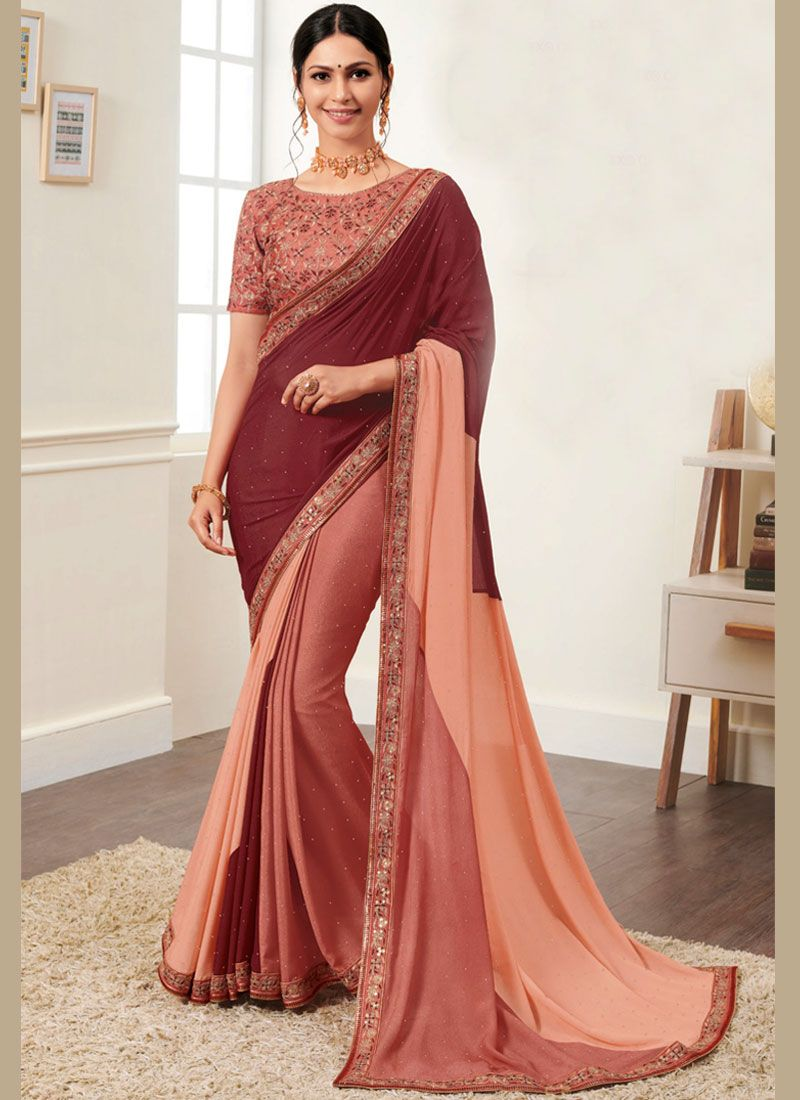Georgette Border Maroon Designer Saree