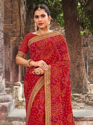 Georgette Border Multi Colour Contemporary Saree