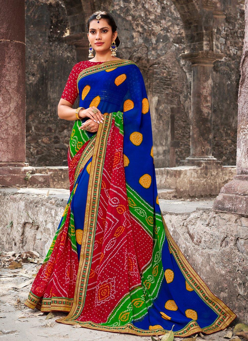 Georgette Border Multi Colour Designer Bollywood Saree