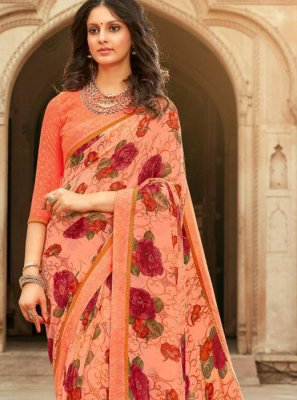 Georgette Border Peach Saree