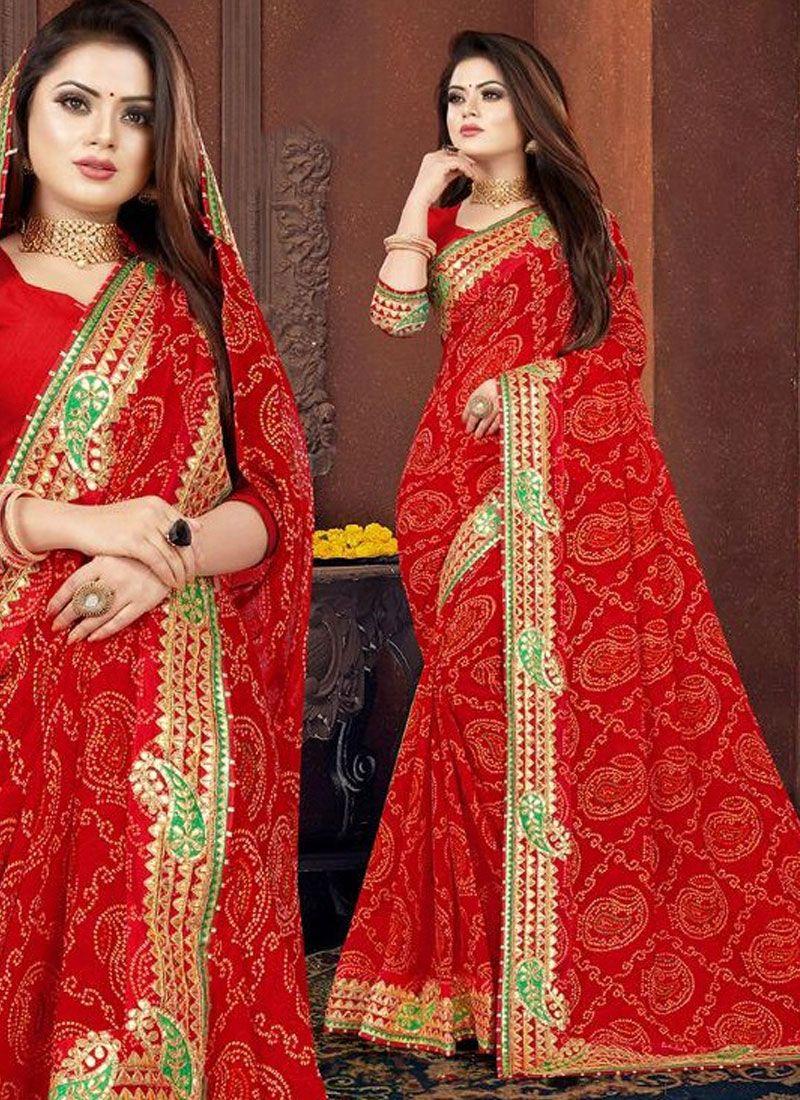Georgette Border Red Bandhani Saree