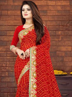 Georgette Border Red Bandhani Saree