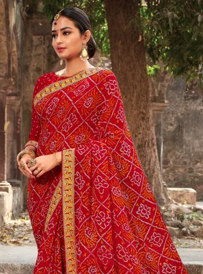Georgette Border Traditional Saree in Multi Colour