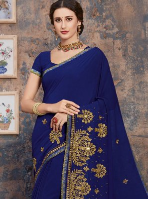 Georgette Classic Designer Saree in Blue