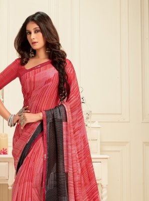 Georgette Classic Saree in Black and Pink