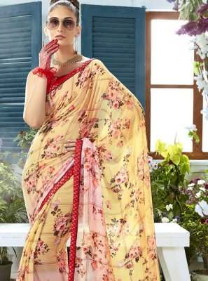 Georgette Cream and Pink Printed Classic Saree