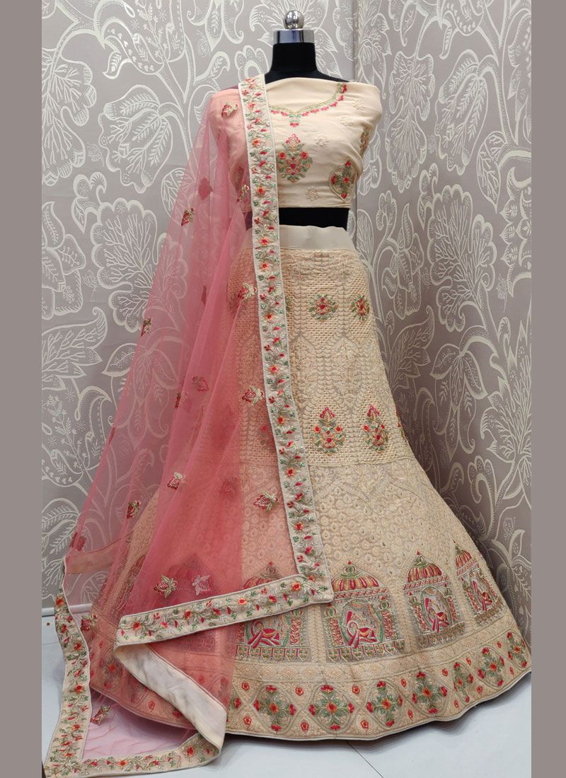 Georgette Cream Embroidered A Line Lehenga Choli