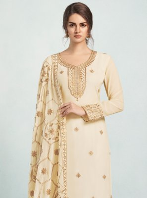 Georgette Cream Salwar Suit