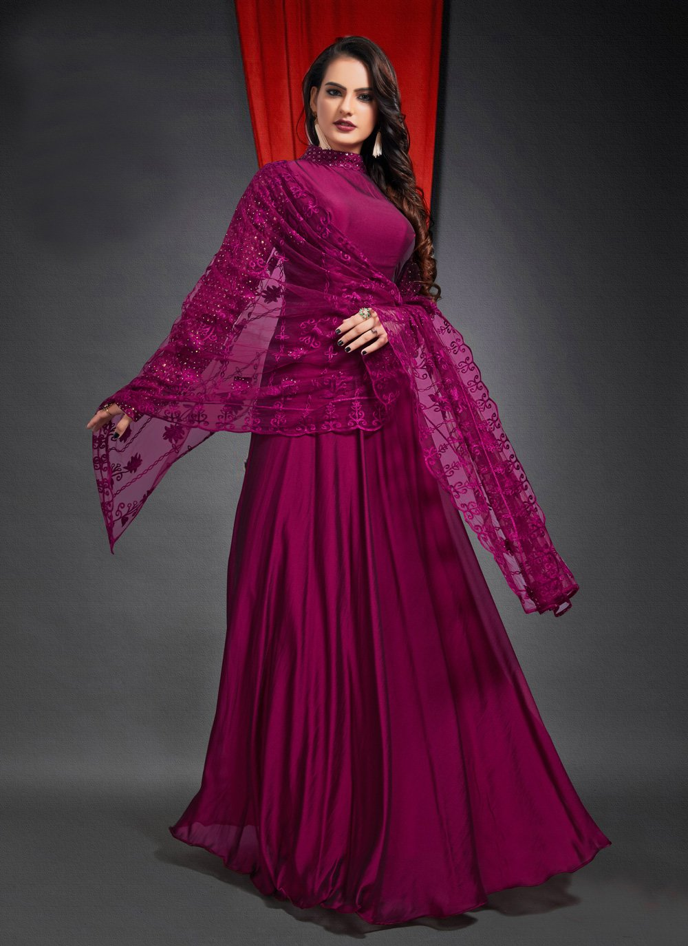 Georgette Designer Gown in Purple