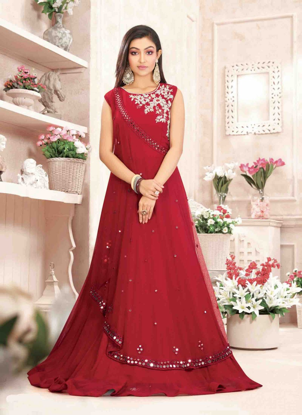 Georgette Designer Gown in Red