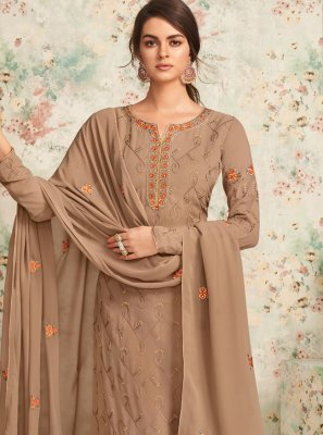 Georgette Designer Salwar Suit in Brown