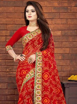 Georgette Designer Saree in Red
