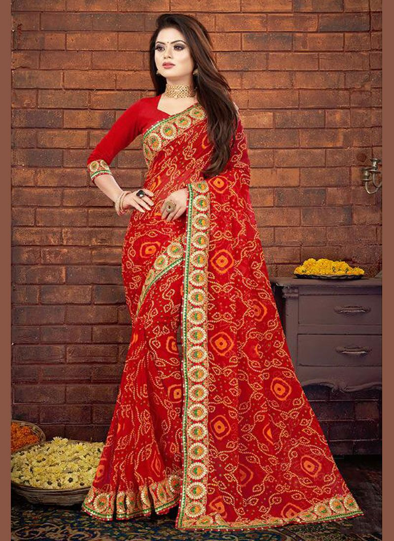 Georgette Designer Saree in Red