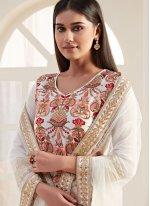 Georgette Designer Straight Salwar Suit in Cream