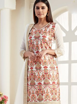 Georgette Designer Straight Salwar Suit in Cream