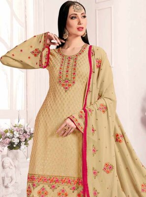 Georgette Designer Suit in Cream