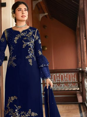 Georgette Designer Suit in Navy Blue