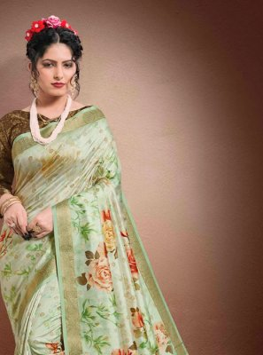 Georgette Digital Print Green Classic Saree