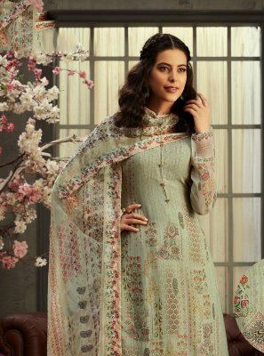 Georgette Digital Print Green Palazzo Suit