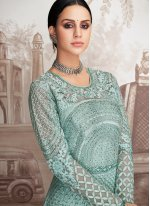 Georgette Embroidered Anarkali Salwar Suit in Turquoise