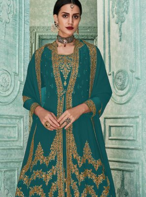 Georgette Embroidered Aqua Blue and Turquoise Salwar Kameez