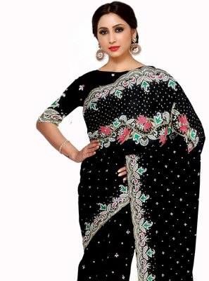 Georgette Embroidered Black Saree