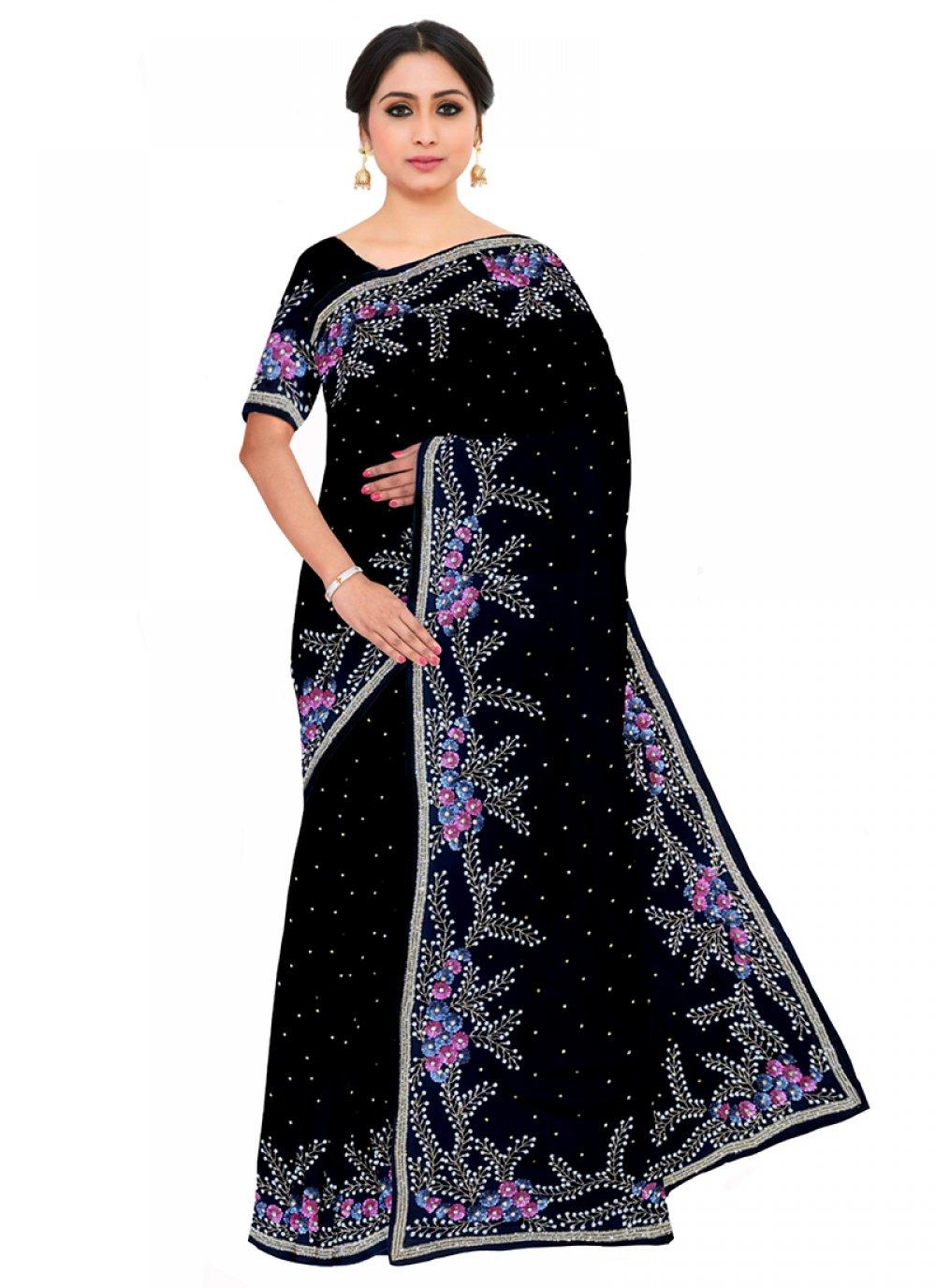 Georgette Embroidered Black Saree
