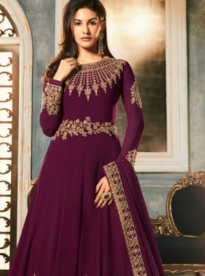 Georgette Embroidered Purple Anarkali Salwar Kameez