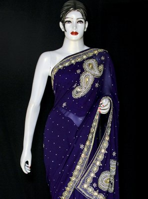 Georgette Embroidered Blue Designer Saree