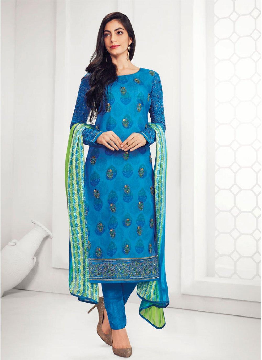 Georgette Embroidered Blue Salwar Kameez