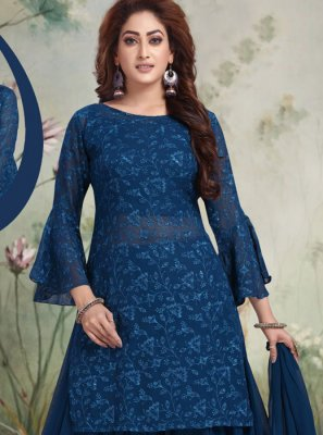 Georgette Embroidered Blue Salwar Suit