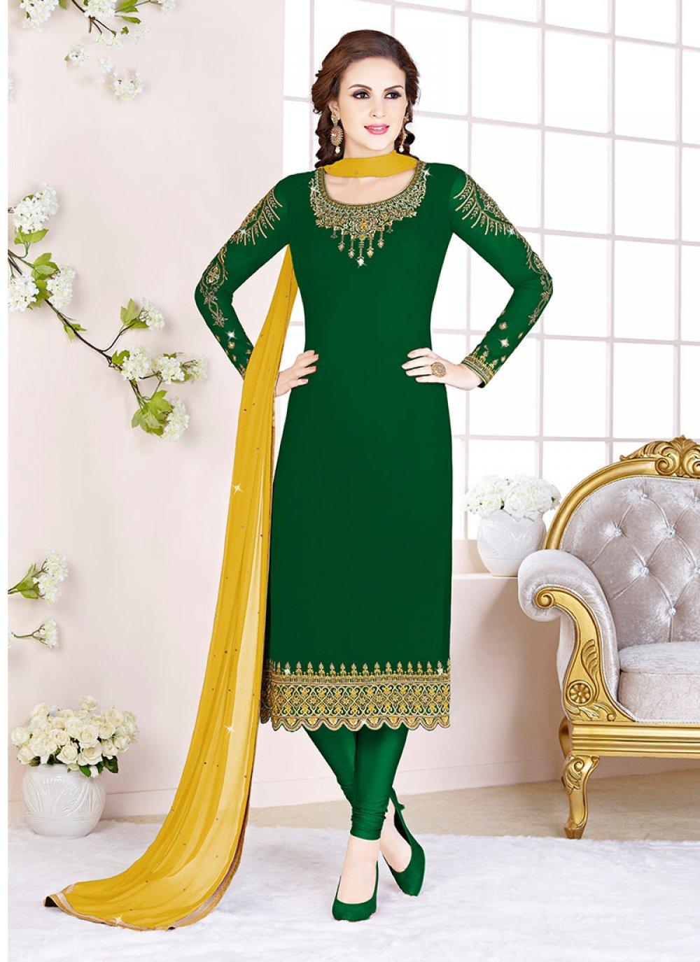 Georgette Embroidered Churidar Salwar Kameez