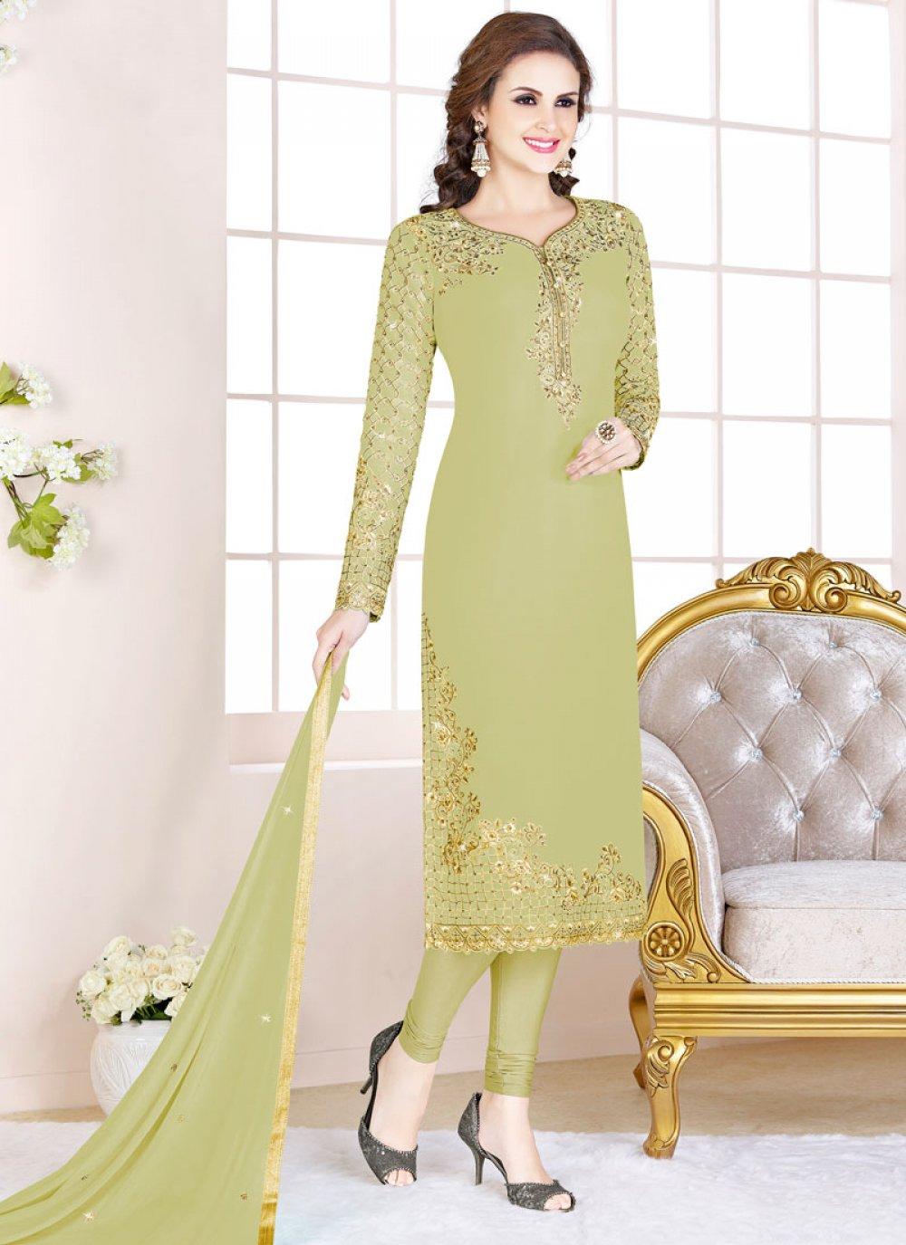 Georgette Embroidered Churidar Salwar Suit in Green