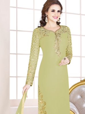 Georgette Embroidered Churidar Salwar Suit in Green
