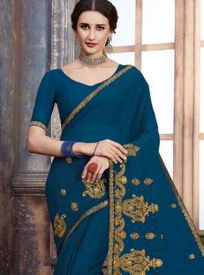 Georgette Embroidered Classic Saree